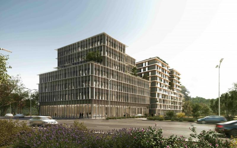 """A1-Immeuble ossature bois """"perspective"""" à Bordeaux le plus haut de France: 30 mètres de haut, R+6 niveaux"""